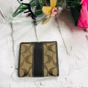 COACH Brown Signature C Fabric Leather Wallet